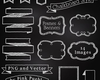 Chalkboard Frames and Banners Clipart Clip Art, Chalkboard Clipart Clip Art Vectors - Commercial and Personal Use