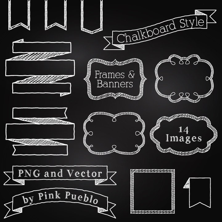 Chalkboard Frames and Banners Clipart Clip Art Chalkboard