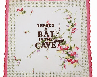 There's a Bat in the Cave Screen Printed Pocket Handkerchief