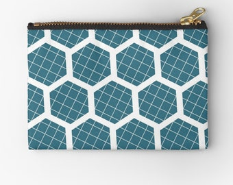 Blue coin purse, Blue Geometric acessories, Blue purse, Blue cosmetic bag, Teal change purse, zipped pouch, Studio pouch, Teal Toiletry bag