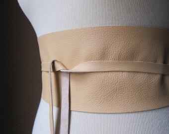 Handmade Peach Orange Pink Italian Real Leather Obi Belt - One of a Kind
