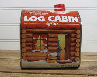 1987 Log Cabin Syrup Tin 100th Anniversary Edition