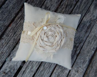 Rustic Ring Pillow, Romance, Country Wedding, Vintage Wedding, Ring Bearer Pillow, Steampunk,  Natural Wedding, Ivory Wedding Decor, Lace
