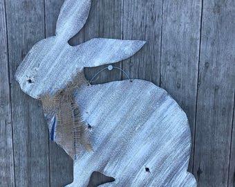 Large whitewashed bunny, shabby chic Easter bunny, rustic tin bunny, whitewashed Easter bunny, rustic Easter decor, shabby Easter decor