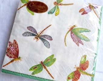 Caspari Paper Napkins - Sealed Package of 20 Dragonfly - Beverage Cocktail & Caspari | Etsy