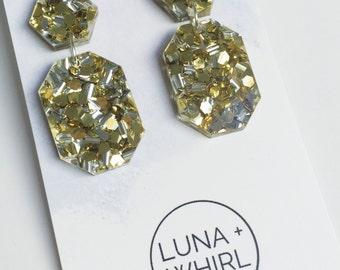 Statement Dangle Earrings Glitter Gold and Silver drop earrings Laser cut acrylic octogon stainless steel