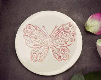 Rustic Butterfly Ceramic Plate, White Dish with Red Butterfly, Plate with Romantic Details