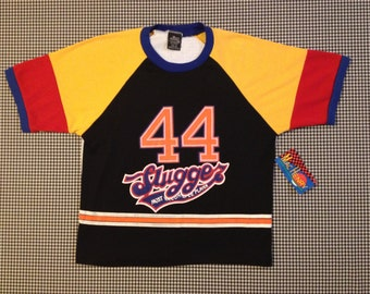 1990's, Slugger MVP, number 44, t-shirt, in black, with blue, red, yellow, orange and pink, Women's size Medium