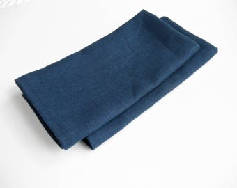 Navy Blue Linen Napkins, Blue Napkins, Table Napkins, Dinner Napkins, Cloth Napkins