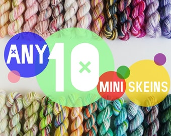 Any TEN 25 yd  Mini Skeins,  Hand-dyed Fingering/Sock Yarn, New Base!--80/20 Eco-Superwash Organic Merino/Nylon--You Choose the Colours!