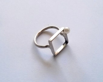 Square ring in gold-plated brass or silver   est egst