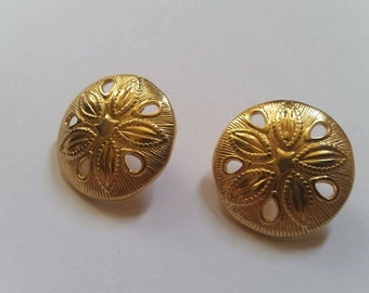 Vintage Gold Sand Dollar Earrings Costume Jewelry