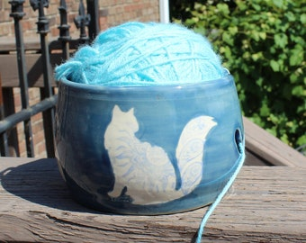 Cats With Stylized Patterns Blue Yarn Bowl