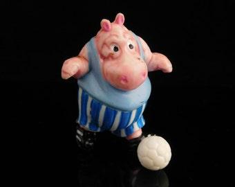 Vintage Toys, Collectible, Soccer Hippo, Animal Football, Dribbel Boys 1990, Flanken Ferdi, Vintage KINDER Surprise Figurine