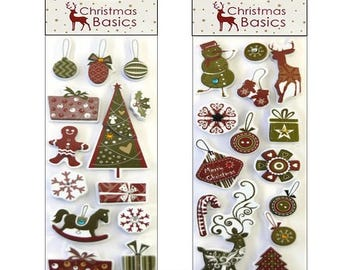 """Set of 2 packages stickers Christmas """"Christmas Basic"""" stickers great scrapbooking or cardmaking projects (ref.110). *."""