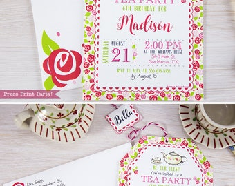 Mother's Day Tea Party Invitation Printable, Tea Party Birthday Invitation, Princess Tea Party Supplies, Tea Party Ideas, , INSTANT DOWNLOAD