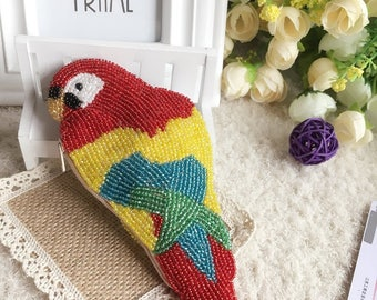 Chinese handicraft, 100% handmade beaded coin purse, lovely ladybird change pouches, Parrot coin bag