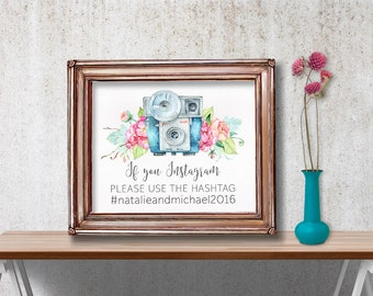 Printable Hashtag Sign, Printable Instagram Sign, Wedding Instagram Sign, Floral Instagram Sign, Wedding Hashtag Instagram Sign, Digital