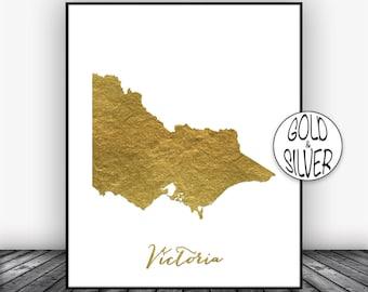 Victoria Print, Victoria Art Print, Home Decor, Victoria Map Wall Prints, Wall Art, Home Wall Decor, Living Room Decor, GoldArtPrint