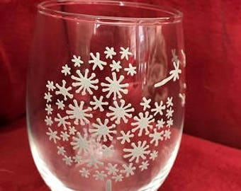 Make A Wish Hand Painted Glasses Light Gray