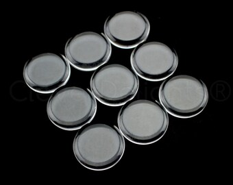 """25 - 18mm Round Glass Tiles - Flat on Both Sides - Clear Tiles - For Photo Pendants Mosaics Trays  - 18 mm 11/16"""" Inch Diameter"""