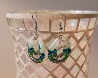 Green ombre beaded dangle earrings