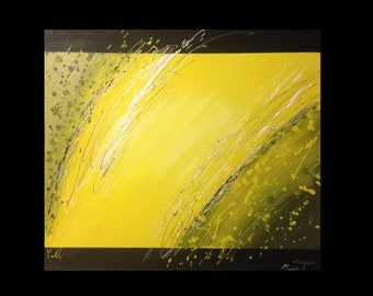 "Yellow abstract modern painting ""Speed"""