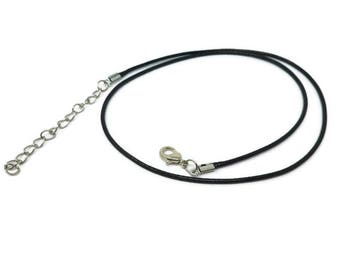 "Black Waxed Cord Necklace - 10 25 50 pieces - 17"" to 19"" - 1.5mm Cord Diameter - Silver Findings - Waxed Braided Cotton - Bulk - blanks"