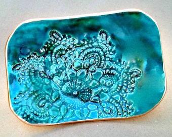 Ceramic Trinket Dish  jewelry dish  Soap Dish edged in Gold