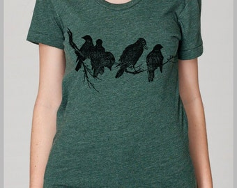 Birds on a Limb Women's T Shirt American Apparel S, M, L, XL 8 COLORS Outdoors Nature Tee Gift for her IR4