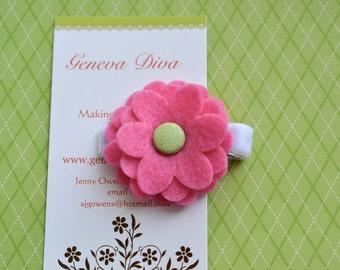 Medium Pink with Glittery Lime Layered Felt Flower Clip