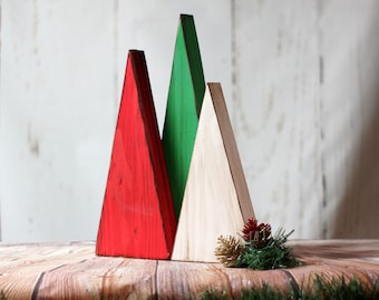 3 LARGE Red, White, Green Wooden Trees