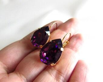Purple Swarovski Earrings, Dark Purple Earring, Violet Crystal Earring, Purple Crystal Jewelry, Purple Bridesmaid, Purple Bride, Amethyst