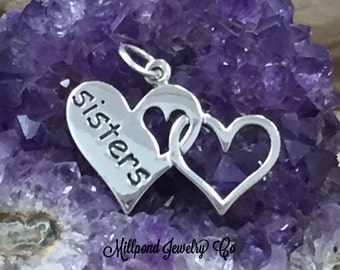 Sisters Heart Charm, Sterling Silver Sisters Charm, Sisters Charm, Sisters Pendant, Sterling Silver Charm, Sterling Silver Pendant
