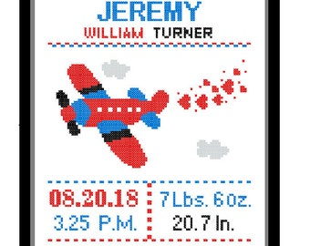 1 Cross Stitch custom Pattern Baby Boy Personalised Birth Announcement Birth Record Airplane Red Blue Green Yellow Transport Nursery Gift