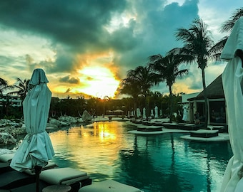 Sunset over the Pool, Pool Photography, Water Photography, Landscape Photography, Travel Photography, Sunset Photography, Mexico Landscape