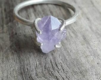 Raw Amethyst Crystal and Sterling Silver Ring - Amethyst Ring - February Birthstone Ring - Purple Stone Ring - Boho Ring - Healing Crystal