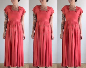 1930's Fred Perlberg Coral Pink Rayon Gown with Brass Studded Detailing | Size Small
