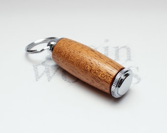 African Mahogany Wood Deluxe Pill Holder Key Chain with Chrome Accents (Gift Ready)