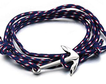 Anchor Navy silver men women black adjustable khaki rope stainless steel bracelet Hope