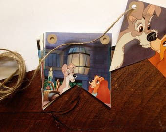 Lady and The Tramp Bunting - Classic Disney - Book Bunting - Childrens Gift - Nursery