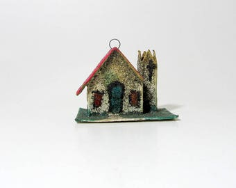 Vintage Christmas Decoration Putz House Ornament/ Christmas Village/ Teal, Silver, Pink Ornament