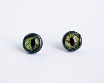 Taxidermy Eye Earrings, Reptile Eye Earrings, Quirky Studs, Simple Stud Earrings, Taxidermy Earrings, Evil Eye Studs,  Alligator Eye Earring