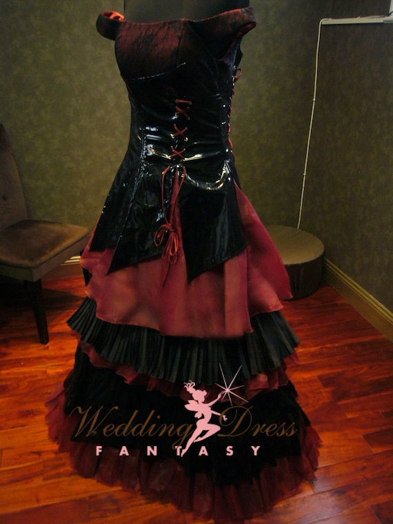 Black and Vampire Red Gothic Wedding Dress with Corset Custom
