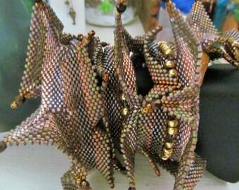 Golden Swirling Horns Wrap Bracelet, beadwoven