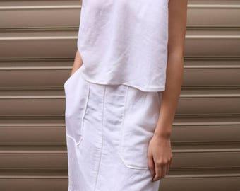 Carlota Dress -2 piece summer linen white dress / minimalist linen dress