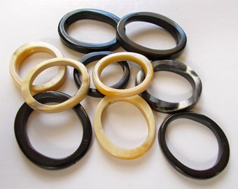 Cowhorn Oval Beads -  Recycled - Fair Trade Mzuribeads from Uganda Pack of 5 Beads