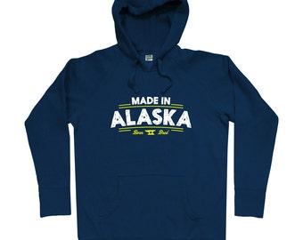 Made in Alaska V2 Hoodie - Men S M L XL 2x 3x - Alaska Hoody, Sweatshirt, Fairbanks, Anchorage, Juneau, Nome - 4 Colors