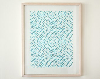 Original woodcut poster big dots light blue