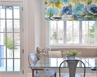 Azure Floral  Faux  Lined Faux Roman Shade Mock Roman Valance   Fake Roman Shades  Custom Sizing Available!